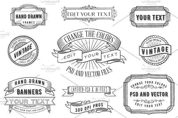 PSD Overlays Labels Frames Banners