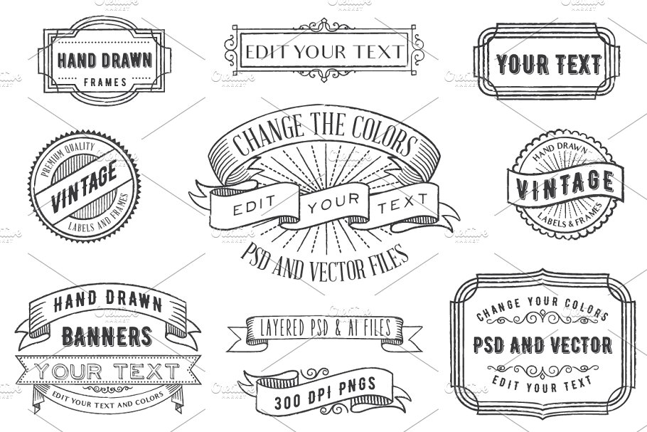 Psd Overlays Labels Frames Banners Graphic Objects Creative Market