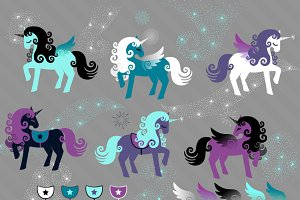 Night Sparkle Unicorn Vectors