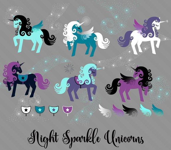 Night Sparkle Unicorn Vectors