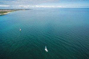 Aerial image of two sailboats