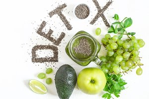 Word detox is made from chia seeds. Green smoothies and ingredients. Concept of diet, cleansing the body, healthy eating