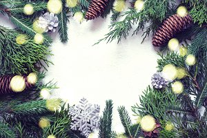 Christmas natural background. Coniferous branches, Cones and dec