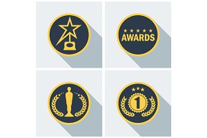 cinema award icons set