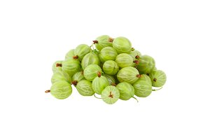 Bunch of green gooseberries, isolated on white
