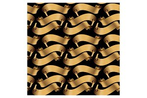 Pattern of gold glossy ribbons