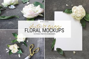 White & gray floral mockup stock
