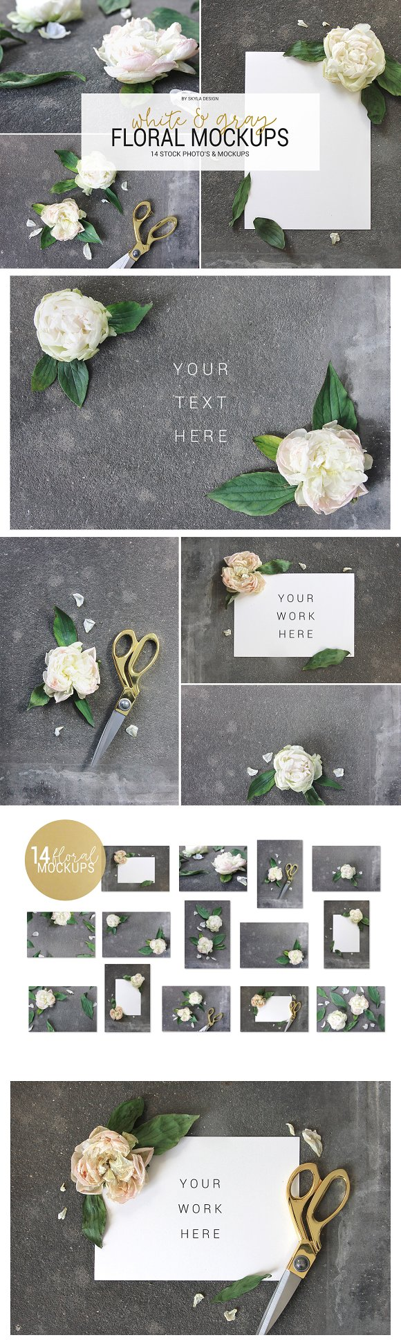 White Gray Floral Mockup Stock