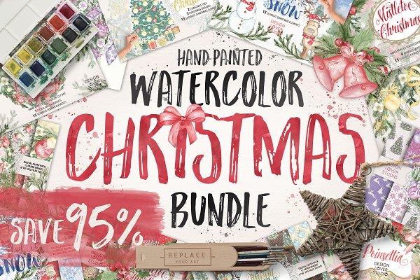 Watercolor Christmas Bundle Extende…