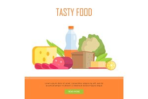 Tasty Food Concept Web Banner Illustration.