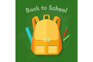 Back to School. Yellow Backpack. Office Supplies