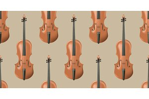 Seamless pattern with realistic wooden violin.
