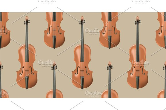 Seamless Pattern With Realistic Wooden Violin