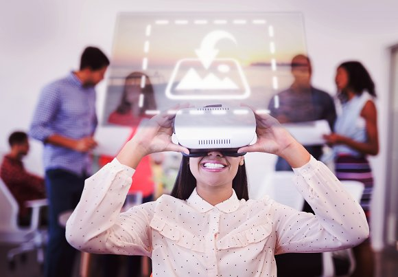 Woman Using VR Headset In Busy Room