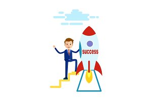 Businessman has Reached Success Goes to Rocket