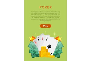 Pocker Online Games Dice Casino Banners Set