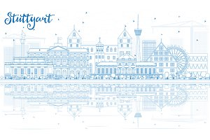 Outline Stuttgart Skyline