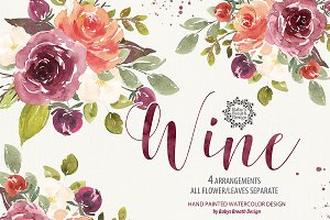 Watercolor Marsala Wine design