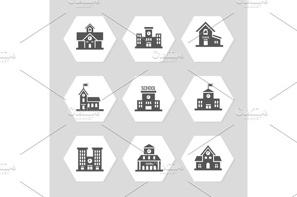 School Buildings Flat Icons Collection