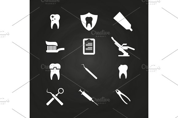 Stomatology Icons Set On Chalkboard Teeth Care Icons