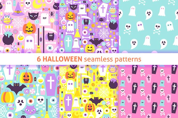 Halloween Pastel Seamless Patterns