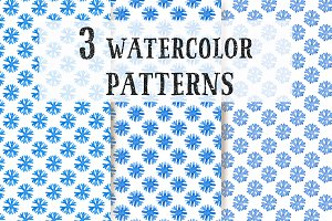 3 Watercolor Snowflakes Patterns