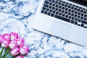 Laptop and Roses