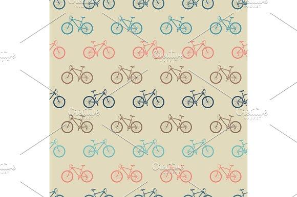 Vintage Colorful Bicycle Seamless Pattern