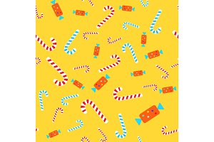 Candies Seamless Pattern. Lollipops and Bonbons