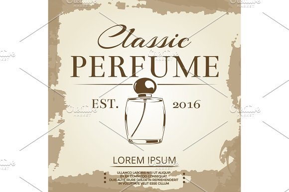 Perfume Vintage Label On Vintage Poster Background