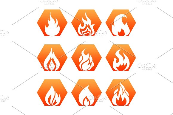 White Fire Flame On Colorful Backdrop Fire Flame Icons Set Vector