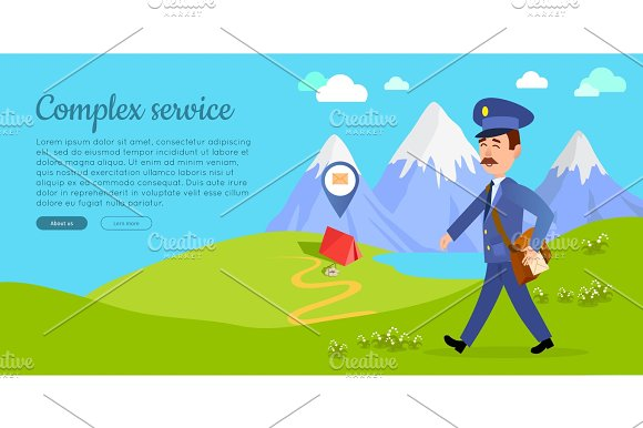 Complex Service Vector Web Banner With Postman