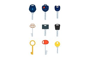 Different Types of Keys. Collection of Pictures