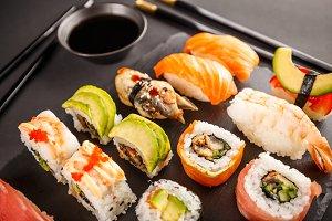 Beautifully decorated sushi