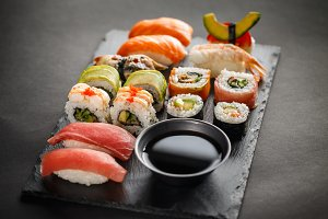 Beautifully decorated sushi