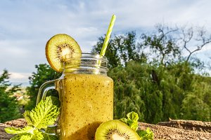 Healthy fresh kiwi smoothie