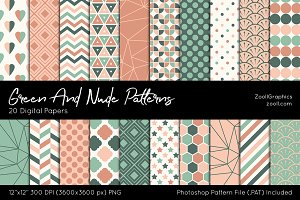 Green And Nude Digital Papers