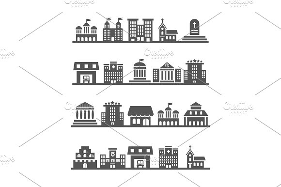 Modern Urban City Landscapes On White Background