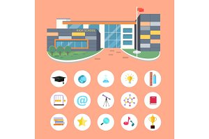 Set of School Icons. Building Book Devices. Vector
