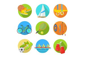 Sports Flat Vector Icons Collection