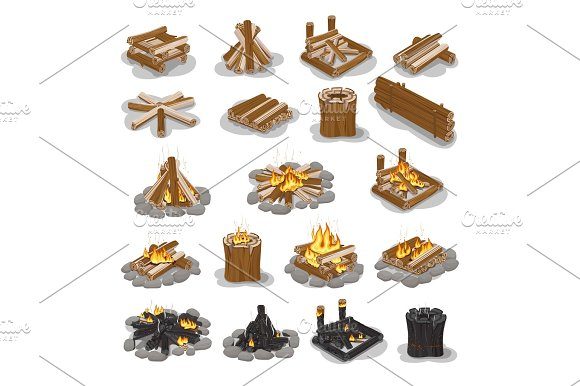 Campfire And Firewood Stages Set Isolated On White