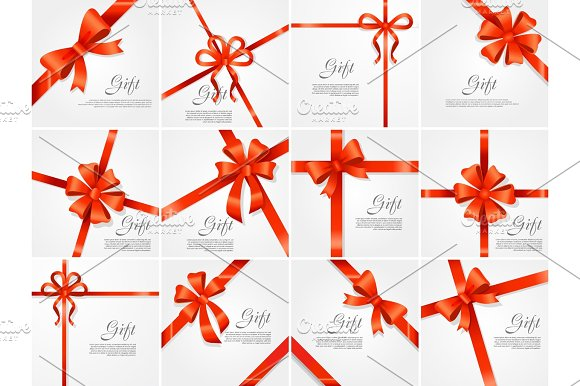 Set Gift Red Wide Ribbon Bright Bow With Two Petals