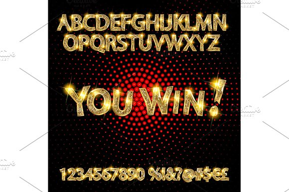 Gold Alphabets And Numbers