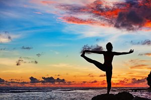 Sunset yoga silhouette