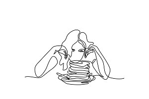 Beautiful young woman looking pancakes