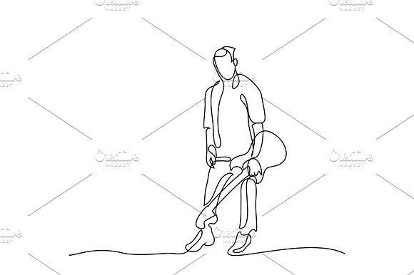 Continuous Line Drawing Of Standing Guitarist