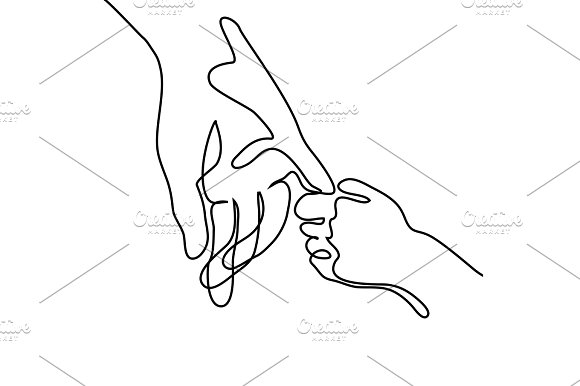 Baby Holding Little Finger Of Adult Hands Together
