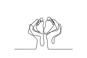 Hands holding baby foot - protection symbol.