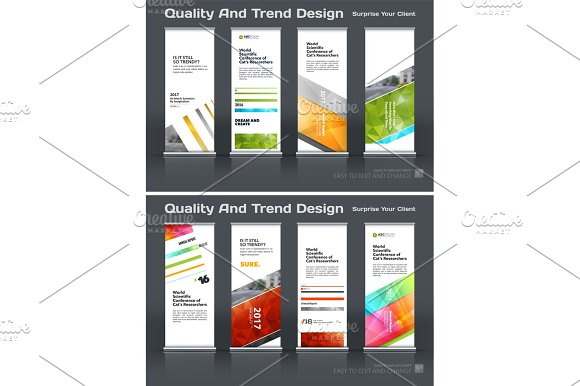 Abstract Business Vector Set Of Modern Roll Up Banner Stand Design Template With Colourful Lines