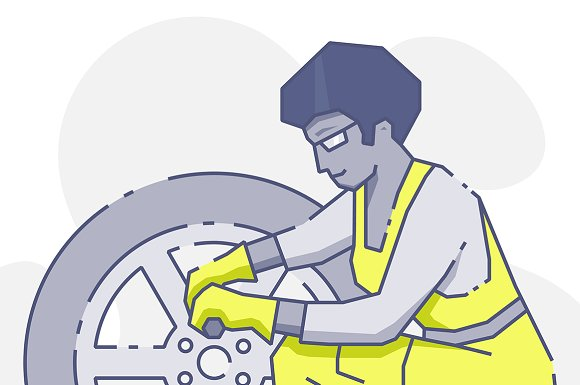 Woman Repairing Wheel